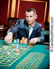 spieler, spielende , roulett, an, der, kasino