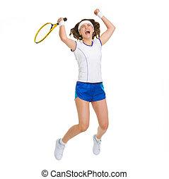 spieler, springende , glücklich, weibliche , tennis