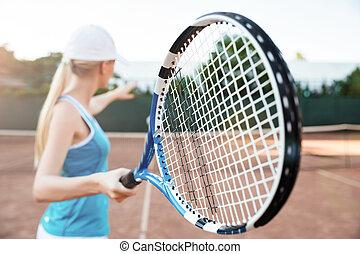 spieler, tennis, hinterer blick