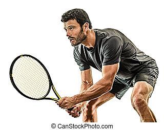 spieler, tennis, hintergrund, freigestellt, mann, weißes, fällig