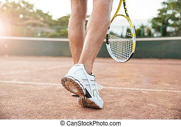 spieler, tennis, zurück, mann, ansicht