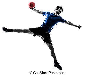 spieler, trainieren, silhouette, handball, mann, junger