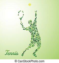 spieler, treten, abstrakt, kugel, tennis