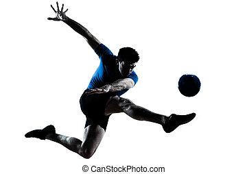 spieler, treten, mann, fliegendes, fußballfootball