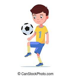 spieler, tritte, junge, footballkugel