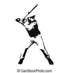 spieler, vektor, baseball, freigestellt, abbildung