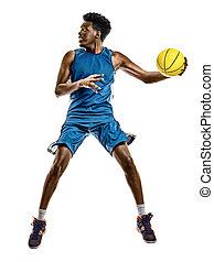 spieler, weißes, afrikanischer mann, junger, hintergrund, freigestellt, basketball