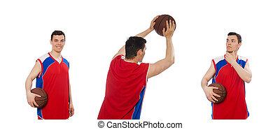 spieler, weißes, basketball, junger, freigestellt