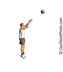 spieler, weißes, basketball, kugel