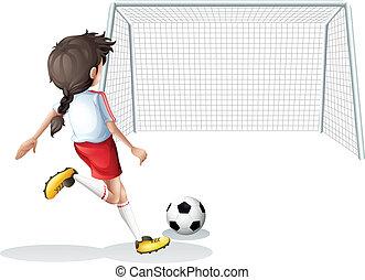 spieler, weißes, fußball- hemd, weibliche