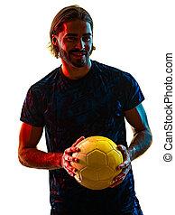 spieler, weißes, fußball, schatten, junger, freigestellt, hintergrund, silhouette
