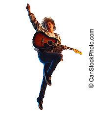 spieler, weißes, schatten, gitarre, mann, junger, freigestellt, hintergrund, silhouette