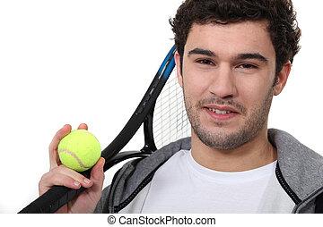 spieler, weißes, tennis, hintergrund