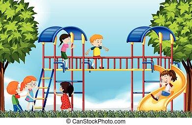 spielplatz, spielende , tageszeit, kinder