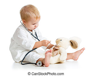 spielzeug, doktor, angezogene , aus, kind, weißes,...