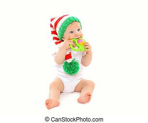 spielzeug, gestrickt, hintergrund,  baby, weißes, Hut, spielende