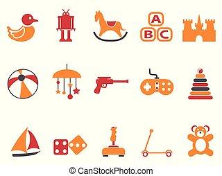 spielzeug, heiligenbilder, farbe, satz, orange, rotes