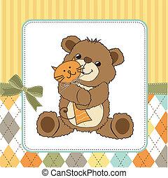 spielzeug, teddy, kindisch, gruß, bär, seine, karte