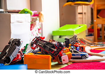 spielzeug, zimmer, bunte, cars., -, chaos, kinder