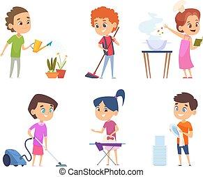 spielzeuge, ihr, karikatur, vektor, kinder, eltern, putzen, portion, housework., sammeln, windows, childrens, charaktere, duschen
