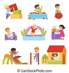 spielzeuge, kinder, satz, leiter, haben, mädels, rutsche, unten, knaben, vektor, spielplatz, hintergrund, illustrationen, hochklettern, weißes, spaß, spielende , schieben