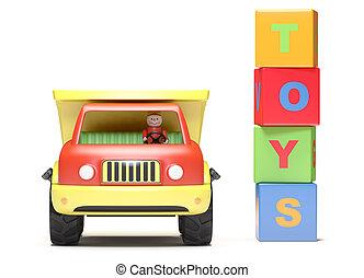 spielzeuglastwagen, würfel