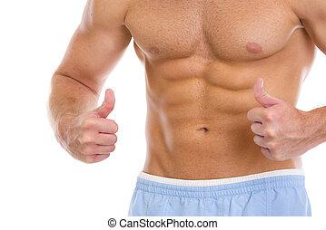 spierballen, abdominaal, het tonen, op, closeup, duimen, man