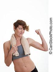 spierballen, vrouw, slank, passen
