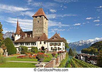 spiez, (jungfrau, lago, región, thun, berna, castillo, cantón, switzerland)