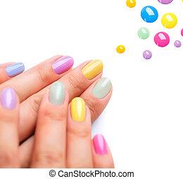 spijker, modieus, kleurrijke, manicure, polish.