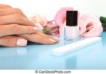 spijker, salon, vrouw, krijgen, manicure