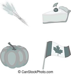 Spike of wheat, a piece of pie with cranberries, pumpkin, national flag. Canada thanksgiving day set collection icons in monochrome style vector symbol stock illustration web.