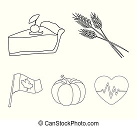 Spike of wheat, a piece of pie with cranberries, pumpkin, national flag. Canada thanksgiving day set collection icons in outline style vector symbol stock illustration web.