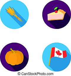 Spike of wheat, a piece of pie with cranberries, pumpkin, national flag. Canada thanksgiving day set collection icons in flat style vector symbol stock illustration web.