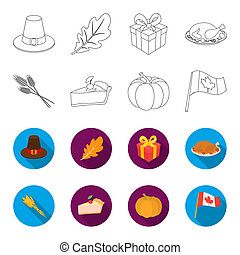 Spike of wheat, a piece of pie with cranberries, pumpkin, national flag. Canada thanksgiving day set collection icons in outline, flat style bitmap symbol stock illustration web.
