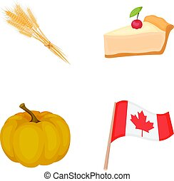 Spike of wheat, a piece of pie with cranberries, pumpkin, national flag. Canada thanksgiving day set collection icons in cartoon style vector symbol stock illustration web.