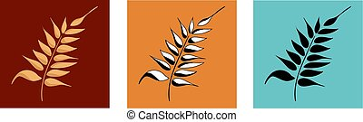 Spike of Wheat Grain Vector Color Variation