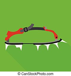 Spike shoes tool icon, flat style