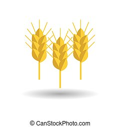 spike wheat vector icon set