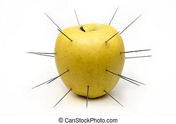 spiked, äpple, isolerat, vita