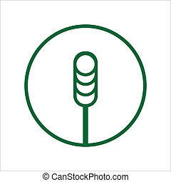 Spikelet of wheat Plant branch icon in circle round outline black color vector illustration flat style image