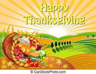 spikelets., acción de gracias, cornucopia, cosechado, ...