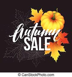 spikelets., autunno, manifesto, foglie, zucca, illustrazione, sale., vettore, disegno, cadere, bandiera