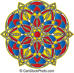 spiky bright abstract symmetrical pattern - Stained Glass