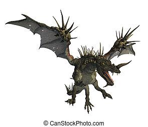 3d render of a spiky dragon in flight.