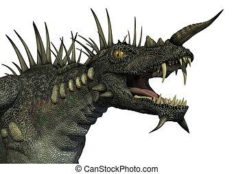 3D render of a ferocious looking spiky dragon.