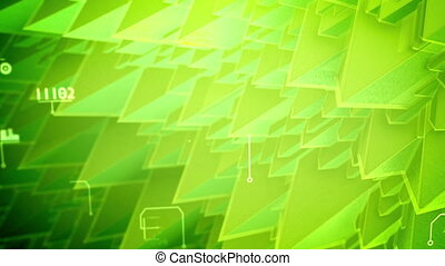 """Splendid 3d rendering of nano pyramids with spiky and steep slopes, rotating coils, changing texts, shimmering digits in the salad background. It looks inspiring in seamless loop. """