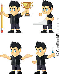 A vector set of a rocker boy in several poses. Drawn in cartoon style, this vector is very good for design that need children element in cute, funny, colorful and cheerful style.