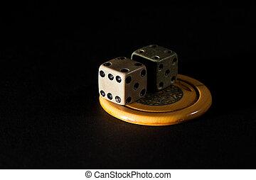 spil, addiction., par, i, vinhøst, spil, terninger, og, kasino, poker skærv, heldige, charms.