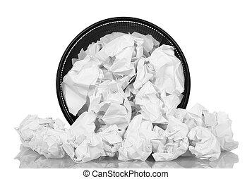 spill, kontor, korg, med, krossa tidning, isolerat, vita